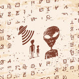 Alien hieroglyphics carved in stone. Royalty Free Stock Image