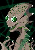 Alien and his nest. The alien sits in the nest from slime stock illustration