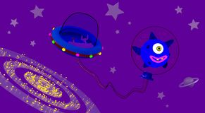 Alien in the background of the galaxy. An alien with his spacecraft in open space against the background of the galaxy vector illustration