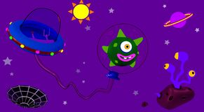 An alien in outer space in the solar system. An alien with his spacecraft in open space in the solar system vector illustration