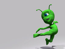 Alien - hit from behind. Little green alien in a white background Royalty Free Stock Image