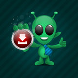 Alien holds download icon Royalty Free Stock Photo