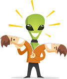 Alien in human costume Royalty Free Stock Image