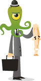 Alien in human disguise cartoon illustration Royalty Free Stock Images