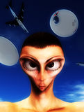 Alien Hybrid. A sinister looking face of an alien hybrid Stock Photos