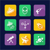 Alien Icons Flat Design Stock Images