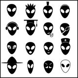 Alien icons set eps10. Black and white alien icons set eps10 Royalty Free Stock Images