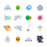 Alien Icons Set Royalty Free Stock Photography
