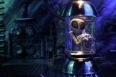 Alien inside a test tube Royalty Free Stock Photos