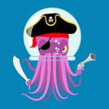 Alien intruders Space pirate Octopus. cosmic monster Invader. po. Ulpe in astronaut  helmet. devilfish  in pirate hat. Saber and gun. Vector illustration Royalty Free Stock Photos