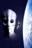 Alien invasion. Earth in danger for an alien invasion. A narrative image in 3d Royalty Free Stock Photos