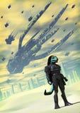Alien invasion. A reptilian alien invasion in 3d Royalty Free Stock Photo