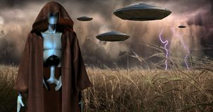 Alien Invasion. Cloaked robot, spacecrafts royalty free stock photos