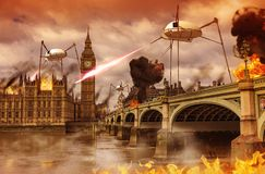 Alien Invasion of City of London. 3D render of an alien invasion concept of London near the British Parliament over the river Thames. Alien fighting machines Stock Photos