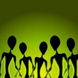 Alien Invasion Figures Green Royalty Free Stock Images