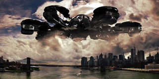 Alien invasion. Gigantic and frightening alien spaceship over Manhattan Royalty Free Stock Photography