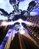 Alien invasion. Gigantic and frightening alien spaceship over Manhattan, destroying buildings with rays Stock Images