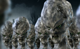 Alien invasion. Sci-Fi alien invasion scene 3D Stock Photos