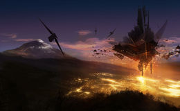 Alien invasion. Scifi alien invasion landscape illustration with fire and space ships Stock Photo