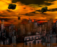 Alien Invasion. Alien ships above a city with a fiery sky Royalty Free Stock Images