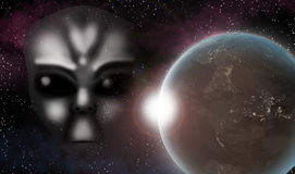 Alien Invasion Universe. Holographic Alien Face in the Universe with Planet in the back Royalty Free Stock Images