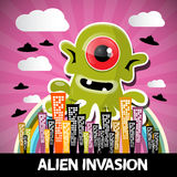 Alien Invasion Vector Cartoon Royalty Free Stock Photography