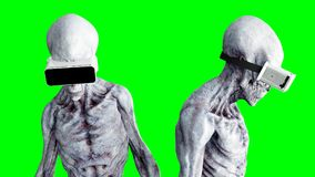 Alien isolate on green screen. UFO concept. Realistic 3d rendering. Stock Image