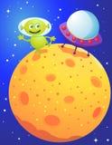 An alien landing on a planet. Illustration of An alien landing on a planet Stock Image