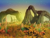 Alien Landscape. An eerie green glow permeates this alien landscape - 3d render Royalty Free Stock Photo
