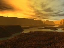 Alien landscape. Very Alien landscape at sunset Stock Illustration