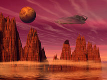 Alien landscape. Space ship on the alien planet - 3d illustration Stock Photo