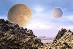 Alien Landscape. 3d Alien landscape with desert and sand cliffs Royalty Free Stock Photo