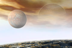 Alien Landscape. 3d Alien landscape with planets in the sky Royalty Free Stock Images