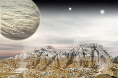 Alien Landscape. 3d Alien landscape with sand cliffs and planet Royalty Free Stock Photos