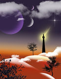 Alien Landscape. A dark tower on the hills sends a signal to a star below the light of three moons Stock Image