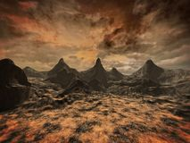 Alien landscape. Desolate alien landscape with rock formations and stormy clouds Stock Photography