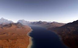 Alien landscape, fantastic planet. Computer generated artwork stock images