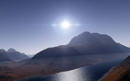 Alien landscape, fantastic planet. Computer generated artwork stock photo