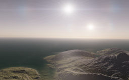 Alien landscape, fantastic planet. Computer generated artwork stock image