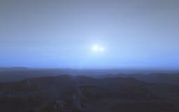 Alien landscape, fantastic planet. Computer generated artwork stock photography