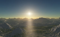 Alien landscape, fantastic planet. Computer generated artwork stock photos