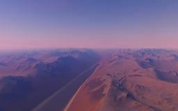 Alien landscape, fantastic planet. Computer generated artwork royalty free stock image