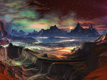 Alien Landscape - Firewalk Canyon. View of vibrant alien landscape with distant mountains and gaseous nebula in sky above Stock Images