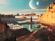Alien Landscape with Futuristic Greek City Royalty Free Stock Image