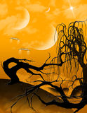 Alien Landscape. An alien landscape with gnarly trees clouds of orange gas and three moons. Ships hover in the air Stock Photos
