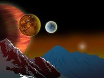 Alien landscape from of jupiter. Illustration of an Alien landscape viewed from one of jupiter's moons Stock Images