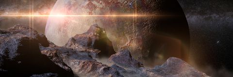 Alien landscape with planet over the horizon 3d illustration banner, elements of this image are furnished by NASA. Artistic impression panorama banner of an Stock Image