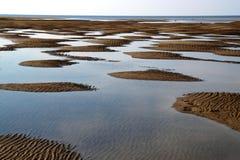 Alien landscape. Riga gulf near Lielupe river mouth on September stock images