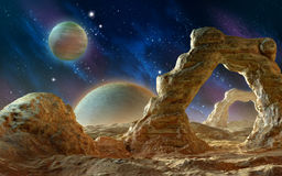 Alien landscape. Spacescape with rock arches. 3D illustration Royalty Free Stock Image