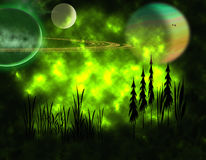 Alien Landscape. A strange landscape with large planets in a gaseous green sky Royalty Free Stock Photos